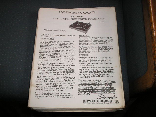 SEL-100  Turntable Service Manual  Sherwood