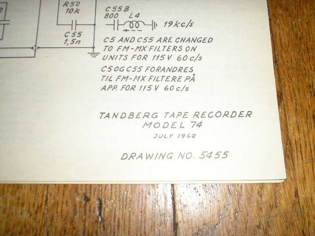Model 74 Large Foldout Schematic  TANDBERG