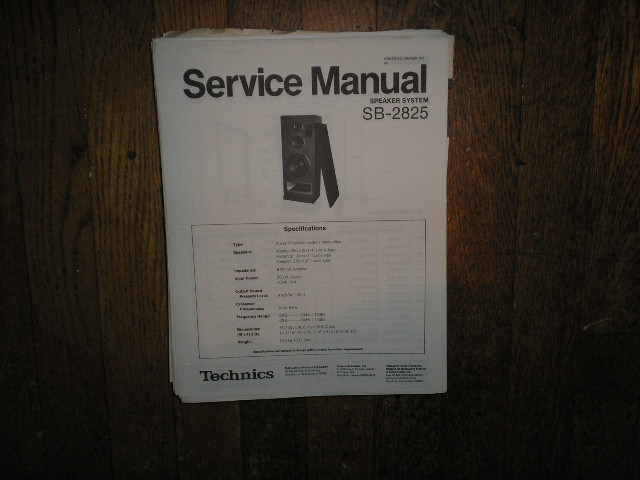 SB-2825 Speaker System Service Manual