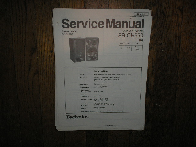 SB-CH550 Speaker System Service Manual