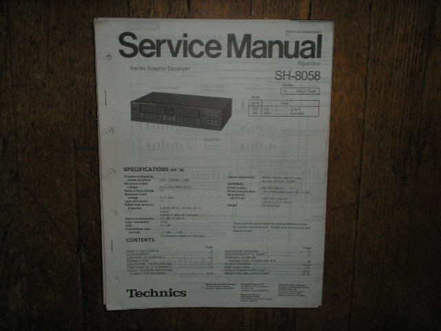 SH-8058 Equalizer Service Manual