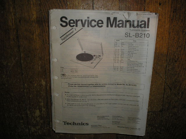 SL-B210 Turntable Service Manual