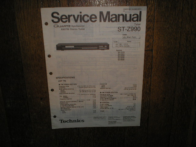 ST-Z990 Tuner Service Manual  Technics