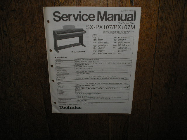 SX-PX107 SX-PX107M PCM Digital Piano Service Manual