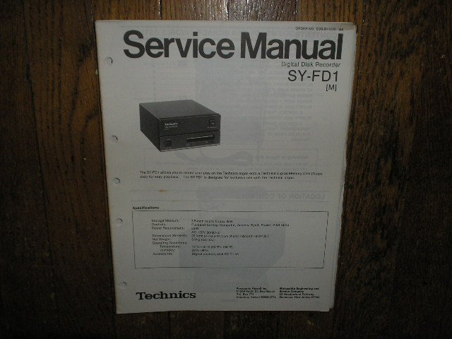 SY-FD1 SY-FD1M Digital Disk Recorder Service Manual