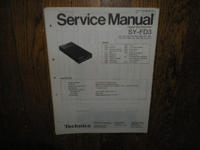 SY-FD3 Digital Disk Recorder Service Manual.  May need manual for SY-FD1 for complete service manual since the units are connected..