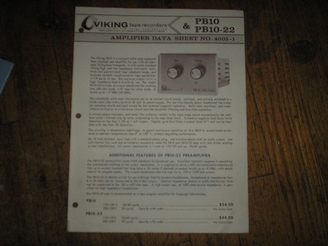 PB10 PB10-22 Pre-Amplifier Schematic and Data Sheet  Viking