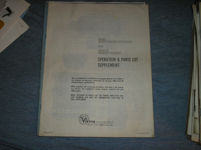 88 Tape Transport Operating Instruction Manual and Parts List Supplement  Viking