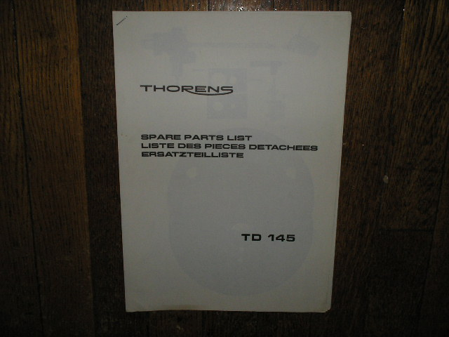 TD 145 Turntable Service Parts Manual 2  Thorens