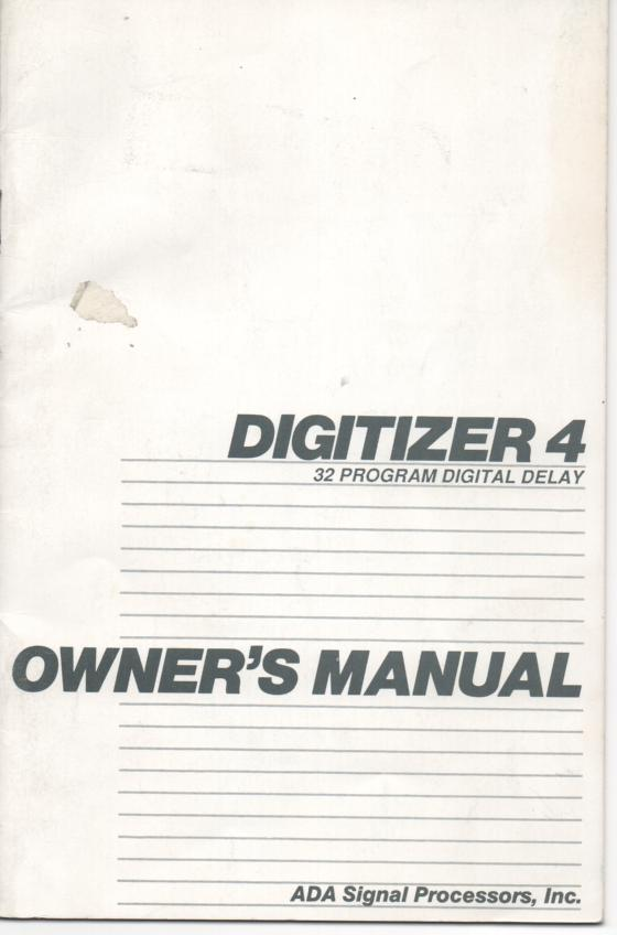Digitizer 4 Digital Delay Owners Manual