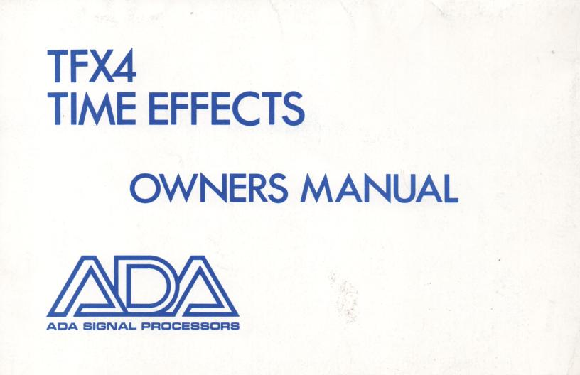TFX4 Time Effects Owners Manual