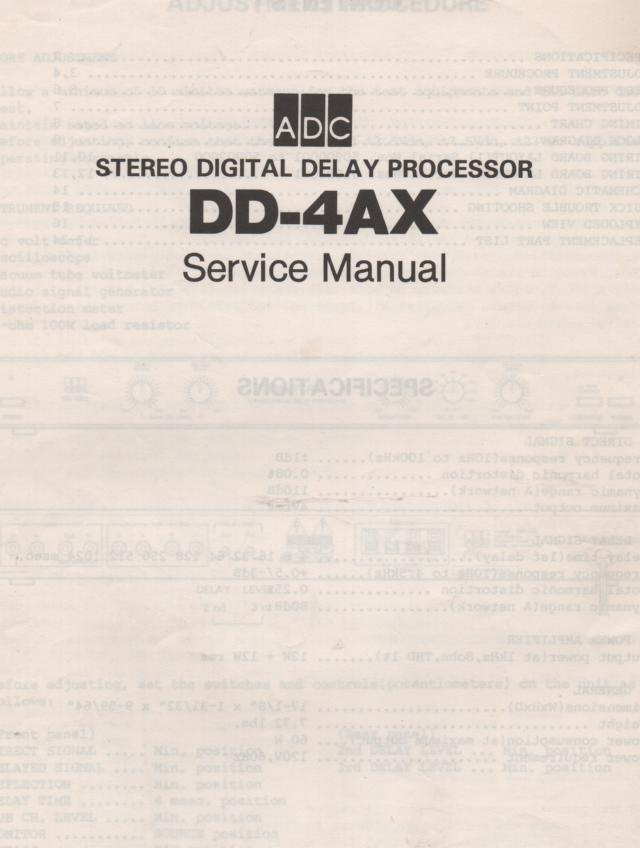DD-4AX Stereo Digital Delay Service Manual