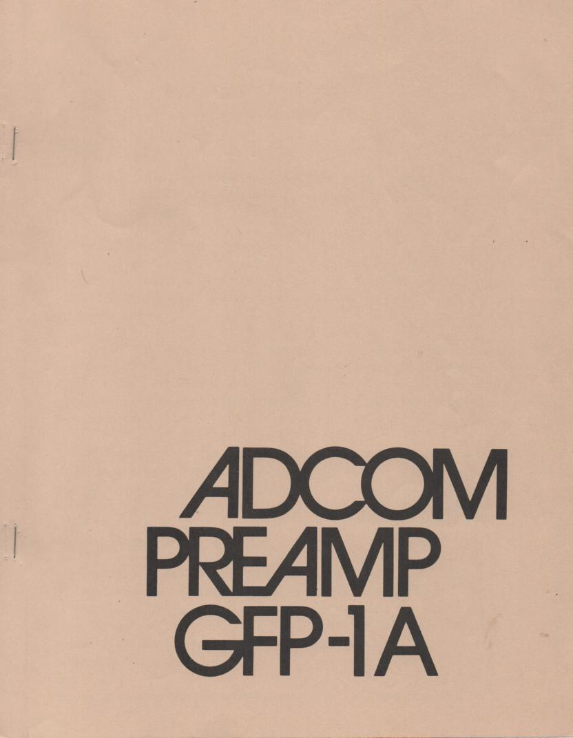 GFP-1A Pre-Amplifier Owners Manual  ADCOM