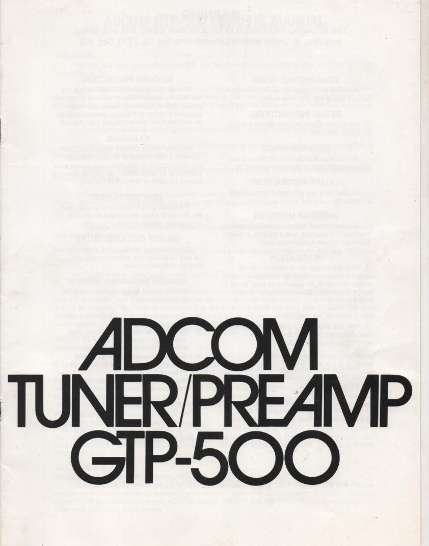 GTP-500 Tuner Pre-Amplifier Service Manual  ADCOM