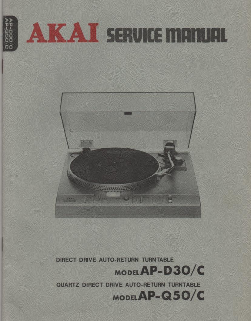 Akai ap d30 ap 3d0c ap q50 ap q50c turntable service instruction 1999 sciox Images