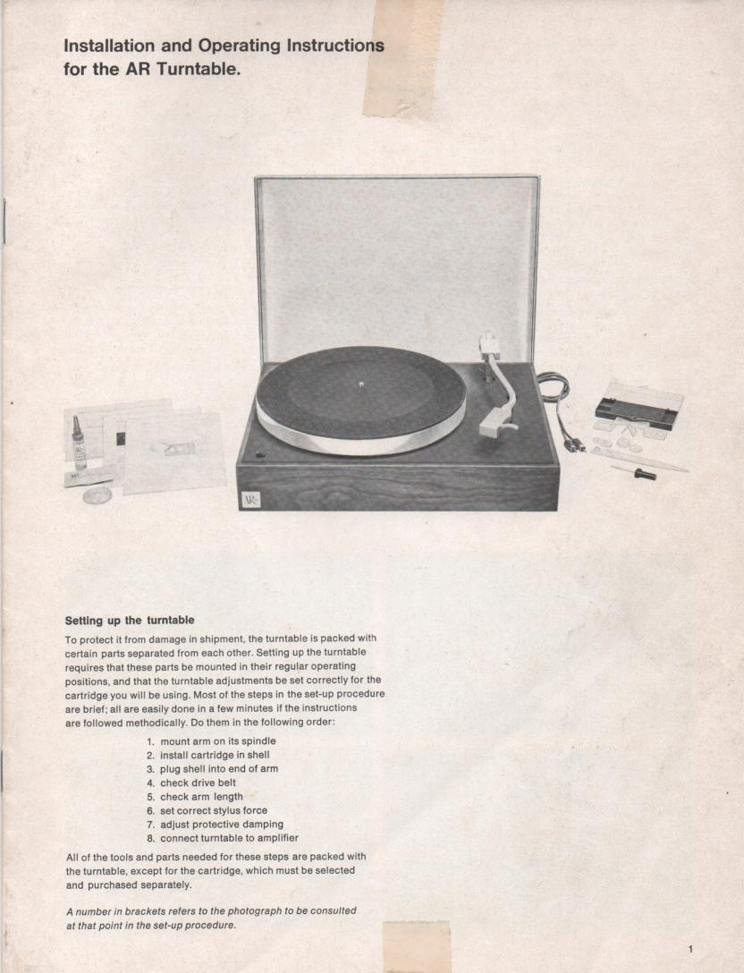 Acoustic Research Turntable Installation Manual