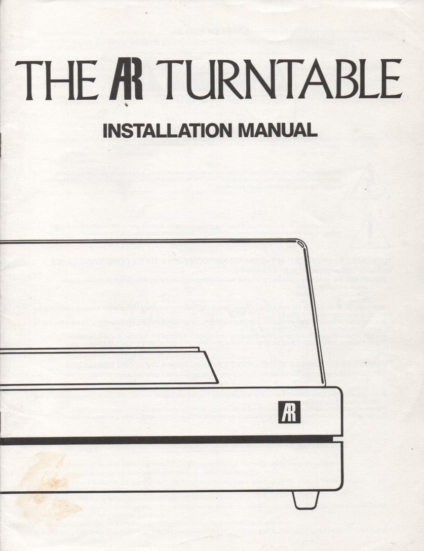 Acoustic Research Turntable Installation Manual English Version  AR Acoustic Research