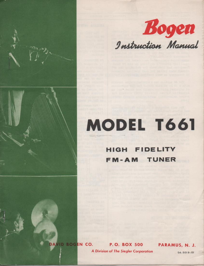 T661 Tuner Owners Operating Service Instruction Manual  Bogen