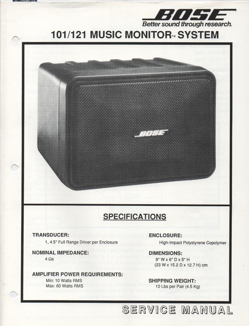 Bose 2 2 Stereo Everywhere Speaker Service Manual Bose 101 Service  Schematics