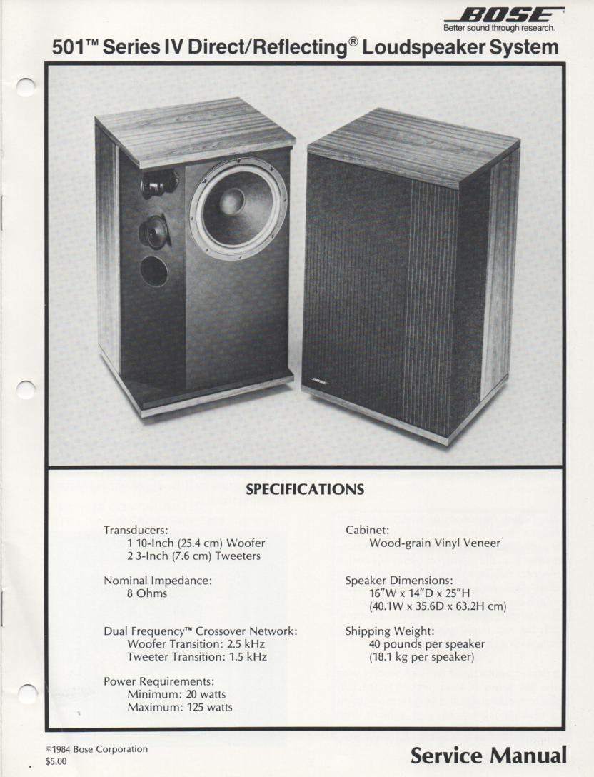 bose 501 series iv direct reflecting speaker system service manual rh mikesmanuals com Bose 201 Series 4 Bose 201 Series 4