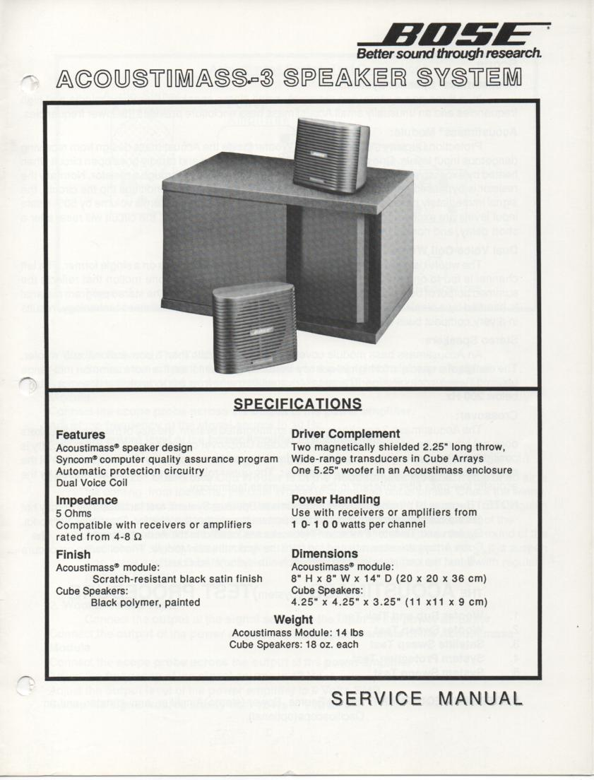 Bose 22 Stereo Everywhere Speaker Service Manual Acoustimass 3 Series V Black 1299