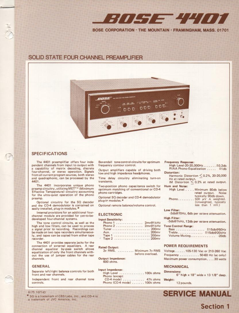 4401 Pre-Amplifier Service Manual  Bose