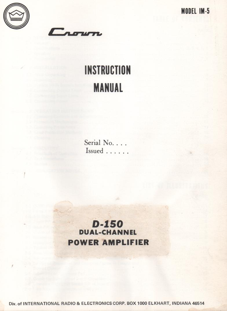 D-150 Dual Channel Power Amplifier Owners Service Manual.,.  IM5