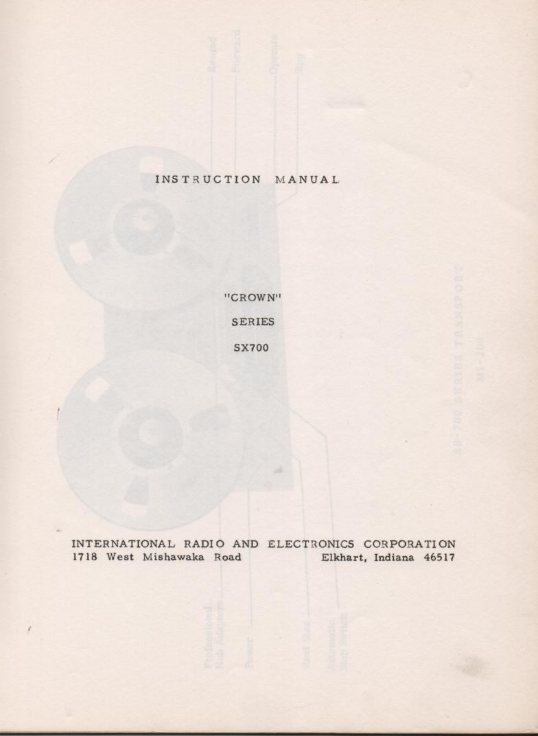 SX-700 Reel to Reel Owners Service Manual  Crown