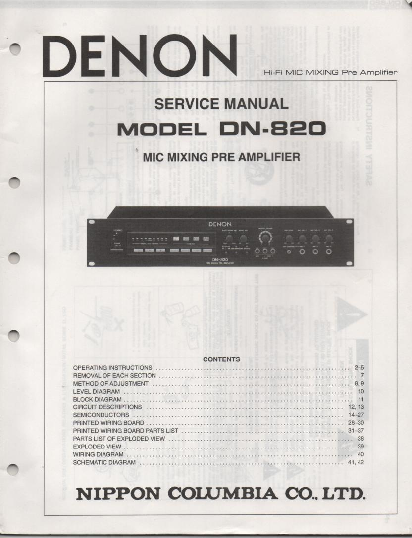 DN-820 Microphone Mixing Pre-Amplifier Service Manual  DENON