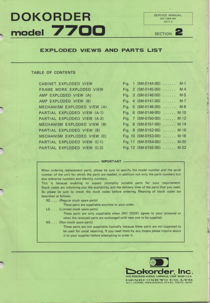 7700 Reel to Reel Service Parts Manual 2  Dokorder