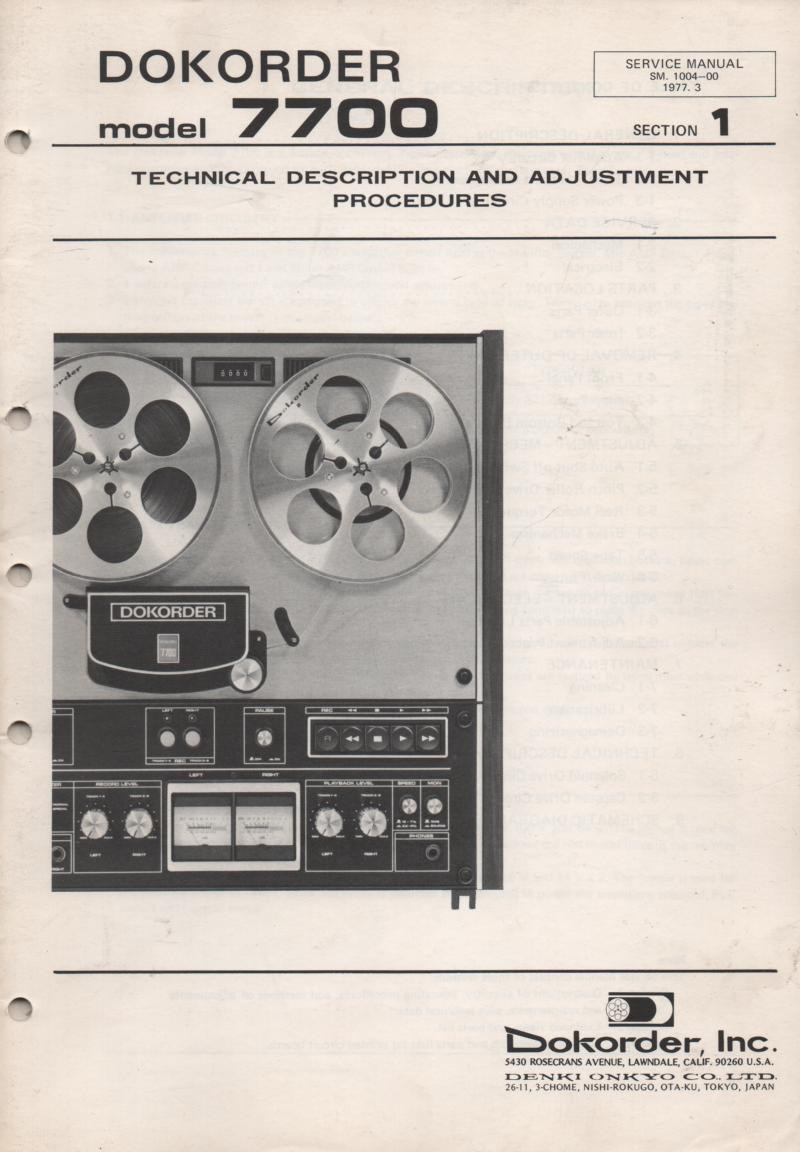 7700 Reel to Reel Technical Alignment Service Manual 1  Dokorder