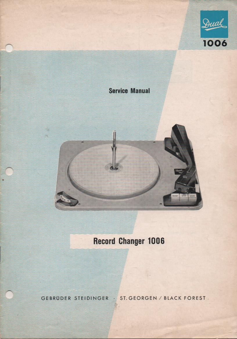 1006 Record Changer Turntable Service Manual  Dual