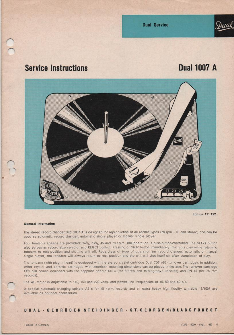 1007A Record Changer Turntable Service Manual  Dual