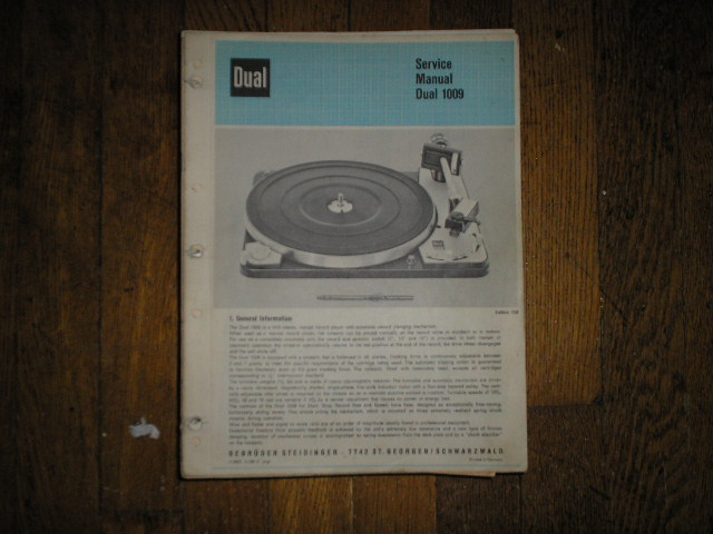 1009 Turntable Service Manual  Dual
