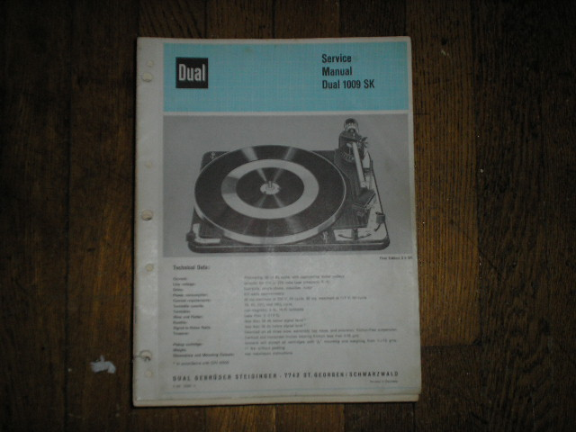 1009-SK Turntable Service Manual  Dual