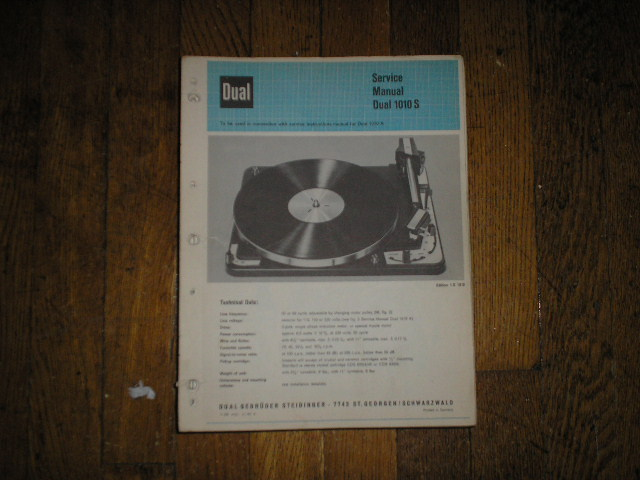 1010-S Turntable Service Manual  Dual