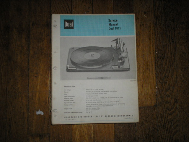 1011 Turntable Service Manual  Dual