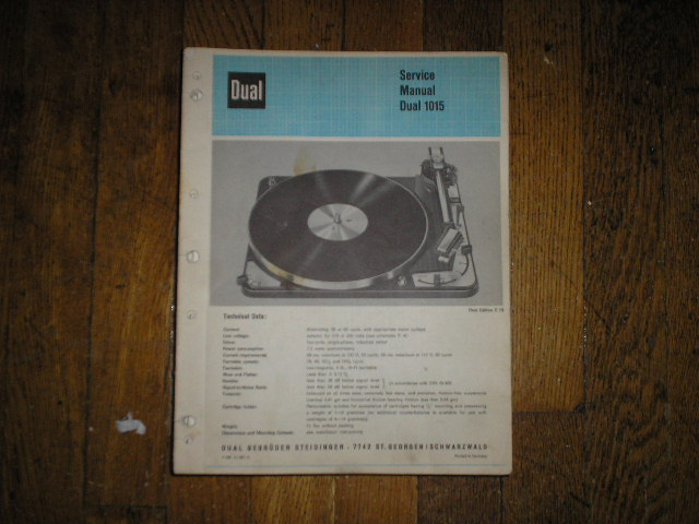 1015 Turntable Service Manual  Dual