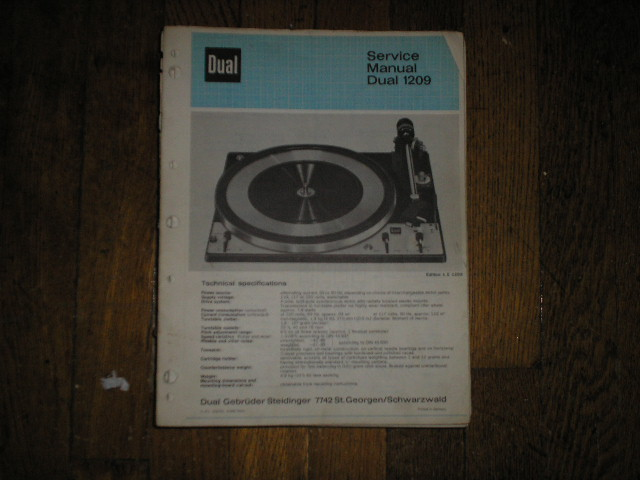 1209 Turntable Service Manual  Dual