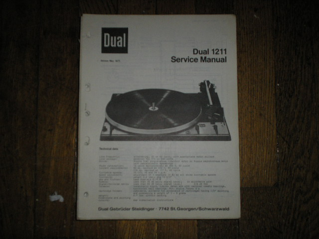 1211 Turntable Service Manual  Dual