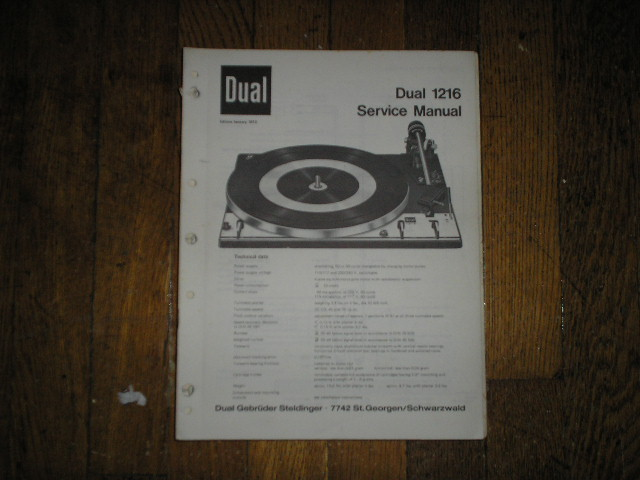 1216 Turntable Service Manual  Dual