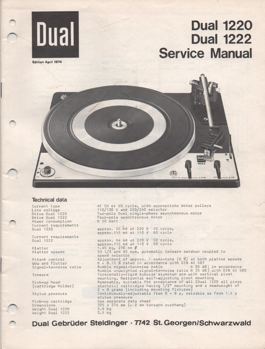 1220 1222 Turntable Service Manual  Dual