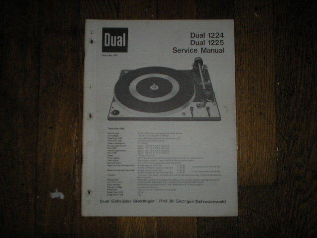 1224 1225 Turntable Service Manual  Dual