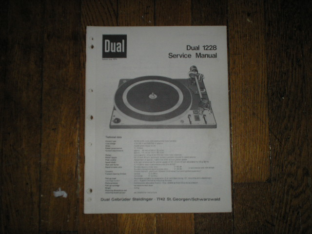 1228 Turntable Service Manual  Dual