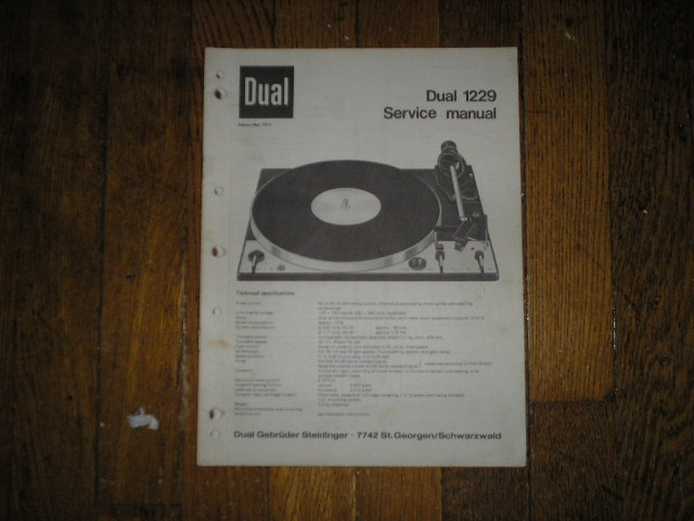 1229 Turntable Service Manual  Dual