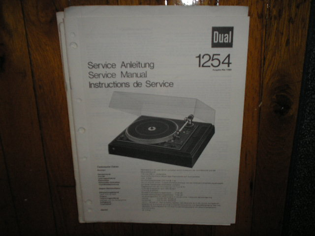 1254 Turntable Service Manual  Dual