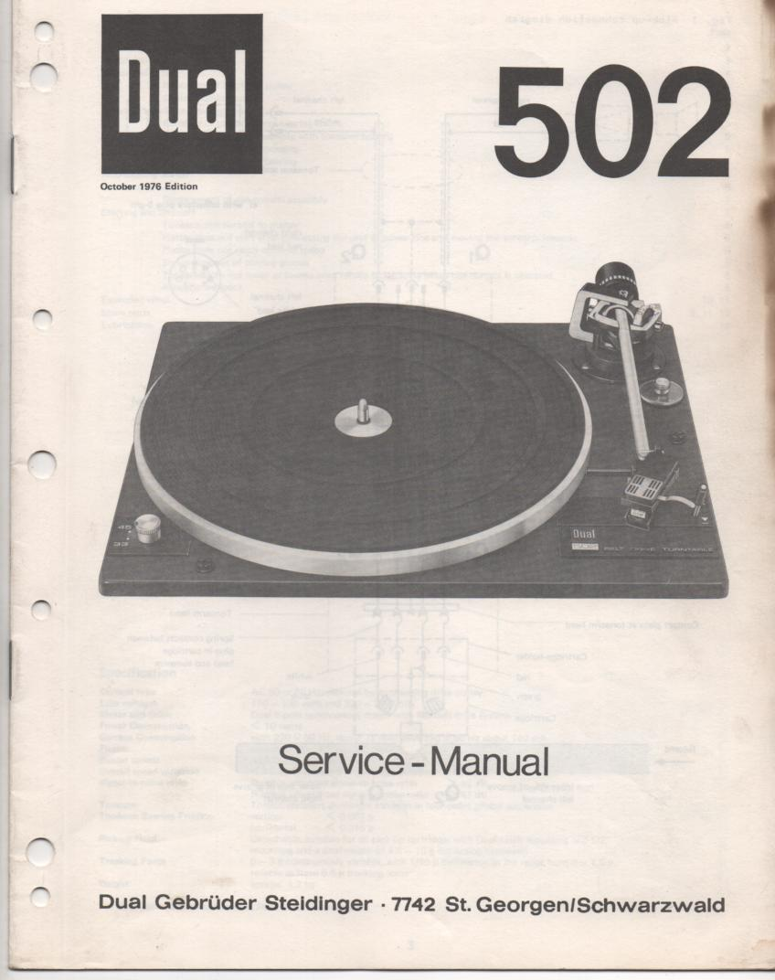 502 Turntable Service Manual  Dual