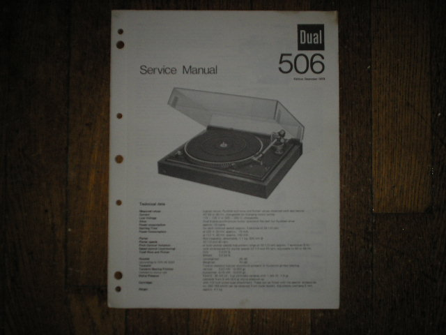 506 Turntable Service Manual  Dual