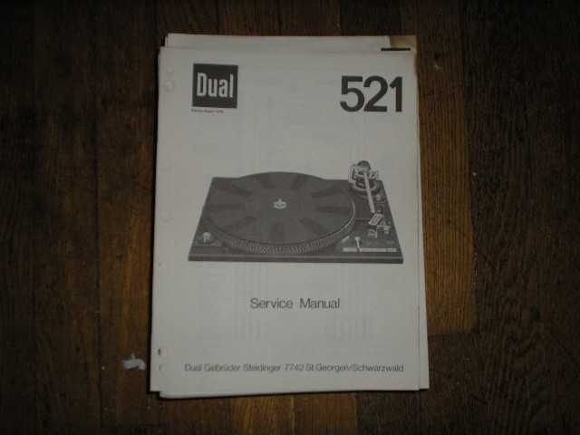 521 Turntable Service Manual  Dual