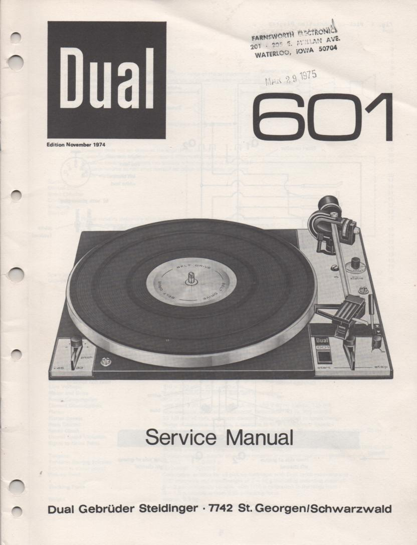 601 Turntable Service Manual  Dual